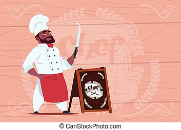African American Chef Cook Holding Knife Smiling Cartoon...