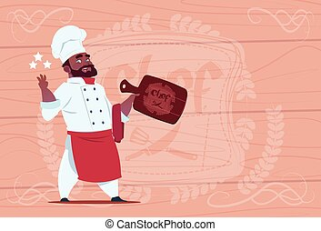 African American Chef Cook Hold Star Award Smiling Cartoon...