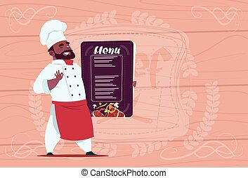 African American Chef Cook Holding Restaurant Menu Smiling...