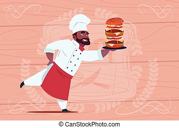 African American Chef Cook Hold Big Burger Smiling Cartoon...