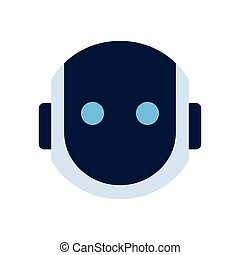 Robot Face Icon Silent Shocked Face Emotion Robotic Emoji...