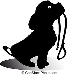 A dog silhouette sits and in the mouth holds a leash. A cartoon on a white background.