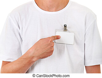 Person with Empty Badge - Person shows Blank Badge on the...