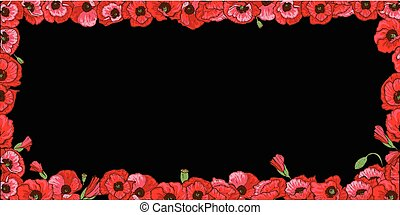 Floral frame of red poppy flowers isolated on black background. Vector illustration.
