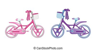 Two cute kids bicycles. Vector illustration isolated on...