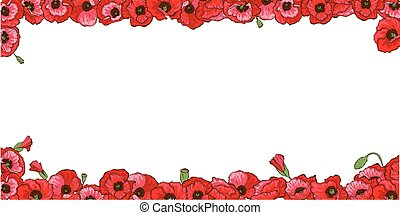 Floral frame of red poppy flowers isolated on white background. Vector illustration.
