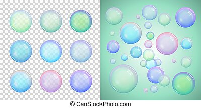 Set of colorful soap bubbles with different colors with transparency isolated on a checkered background