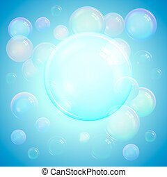 Colorful cool background of realistic transparent colorful soap bubbles with a rainbow reflection on a luminous blue background