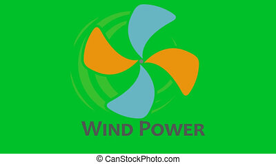 Wind turbine logo animation with alpha channel.