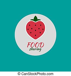 Logo foddshering. Red icon strawberries. Vector illustration