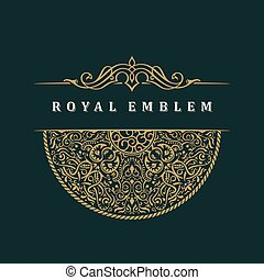 Vector calligraphic crest template. Luxury retro label