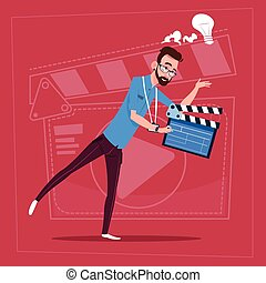 Man Holding Clapperboard Modern Video Blogger Vlog Creator...