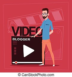 Man Over Vlogger Channel Screen Modern Video Blogger Vlog...