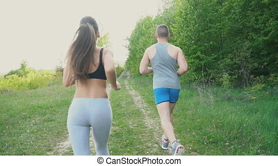 The guy with the girl is running