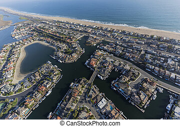 Aerial of Sunset Beach Homes in Southern California