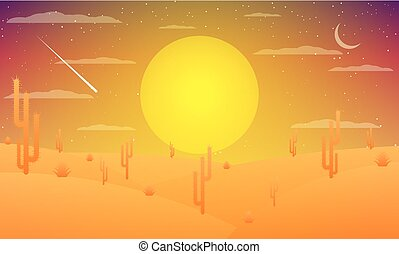 Desert with cacti at sunset
