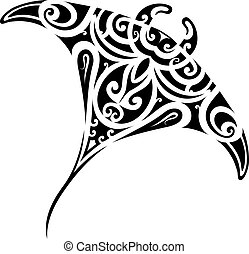 Stingray tattoo shape - Stingray tattoo in Maori ethnic...