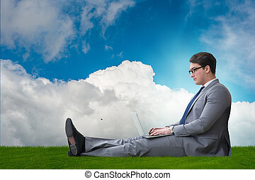 Teleworking concept with businessman working on grass