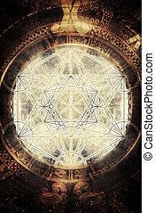 antiguo, merkaba, geometría, luz, Maya, cósmico, espacio,...