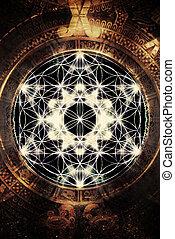 vida, flor, merkaba, geometría, luz, cósmico, espacio,...