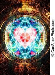 corazón, antiguo, merkaba, geometría, luz, Maya, cósmico,...