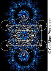 Merkaba and mandala on ablack background. Sacred geometry. -...