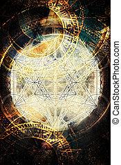 merkaba, geometría, luz, cósmico, espacio, sagrado, zodíaco
