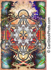Merkaba and mandala on abstract color background. Sacred...
