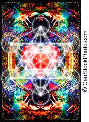 corazón, geometría, luz, Extracto, merkaba, Plano de fondo,...