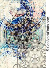 geometría, luz, Extracto, merkaba, Plano de fondo, sagrado,...