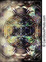 Merkaba on abstract color background. Sacred geometry. -...
