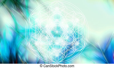 Light merkaba and Flower of life on abstract color...