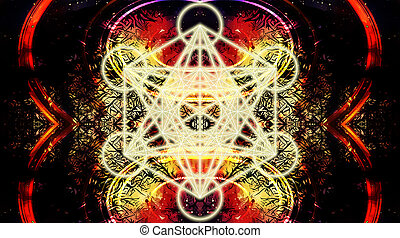 Light merkaba on abstract color background. Sacred geometry....