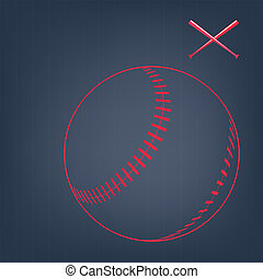sketch of baseball ball with bats - Red sketch of baseball...
