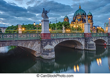 The Cathedral and the Schlossbruecke in Berlin at dusk