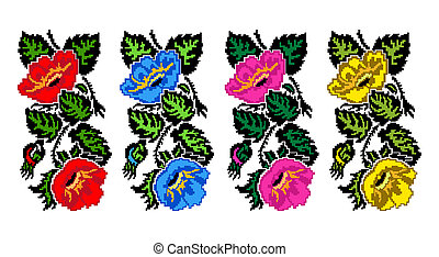 Color image of flowers (poppies) - Set. Color image of...