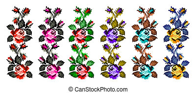 Color image of flowers - Set. Color image of flowers (roses)...