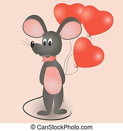 Mouse with balloons in the form of heart.