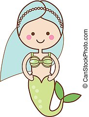 Cute kawaii Mermaid character in Cartoon Style. vector illustration