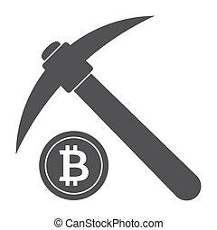 Bitcoin Mining Concept - Bitcoin mining concept with pickaxe...