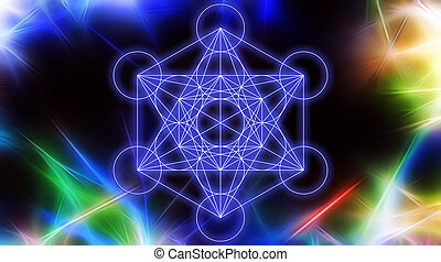 Light merkaba on abstract color background and fractal...