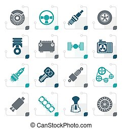 Stylized Different kind of car parts icons - vector icon set