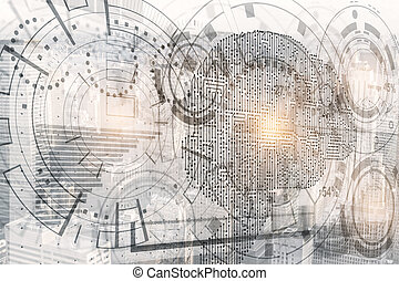 Intellect concept - Abstract digital business hologram with...