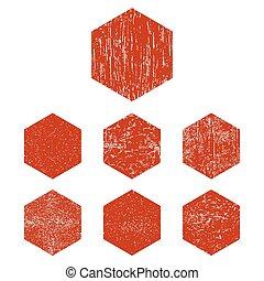 Grunge red hexagon - Grunge hexagon. Red hexagon s set....