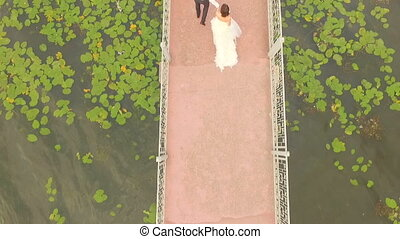 bride and groom walk along the bridge. View from above. Aero view