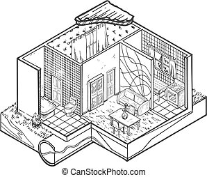House interior hand drawn architecture illustration