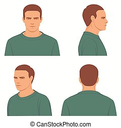 front, side, profile view of head - vector man hairstyle...