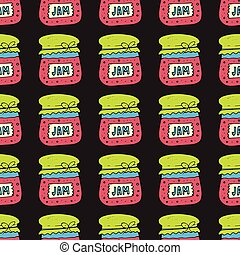 Seamless pattern with jam, marmalade. Vector illustration. -...