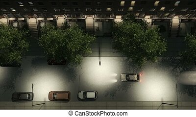 Night city street with brownstones and cars aerial -...