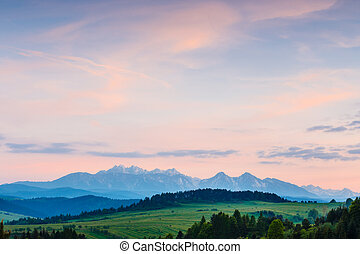 Majestic sunset over Tatra Mountains in Poland